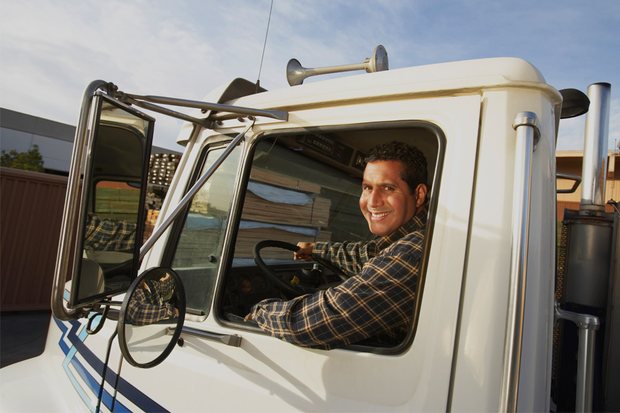 Smiling male truck driver